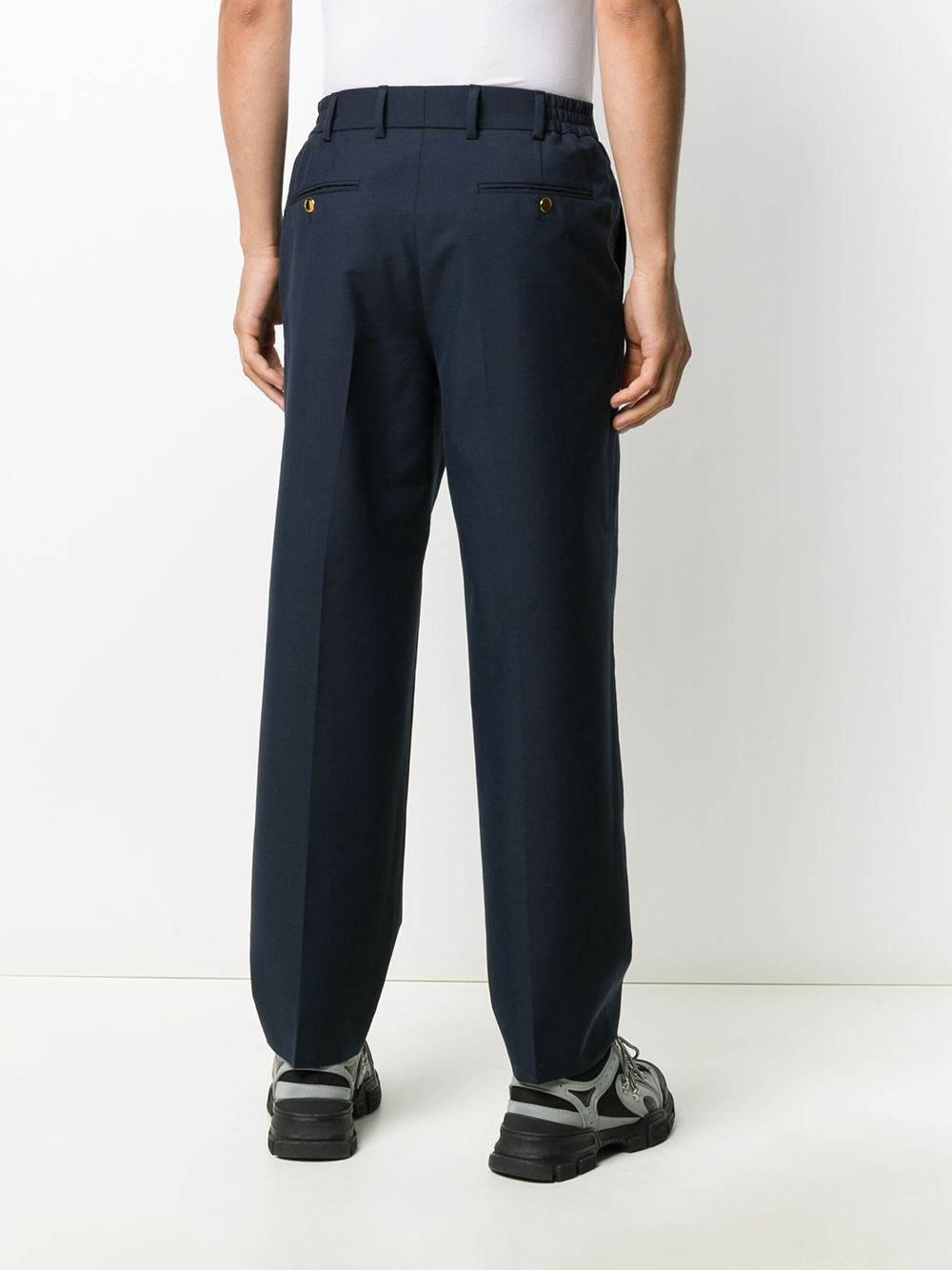 Caspian blue cotton-mohair-wool straight leg tailored trousers featuring GUCCI |  | 630426-ZAC3K4240