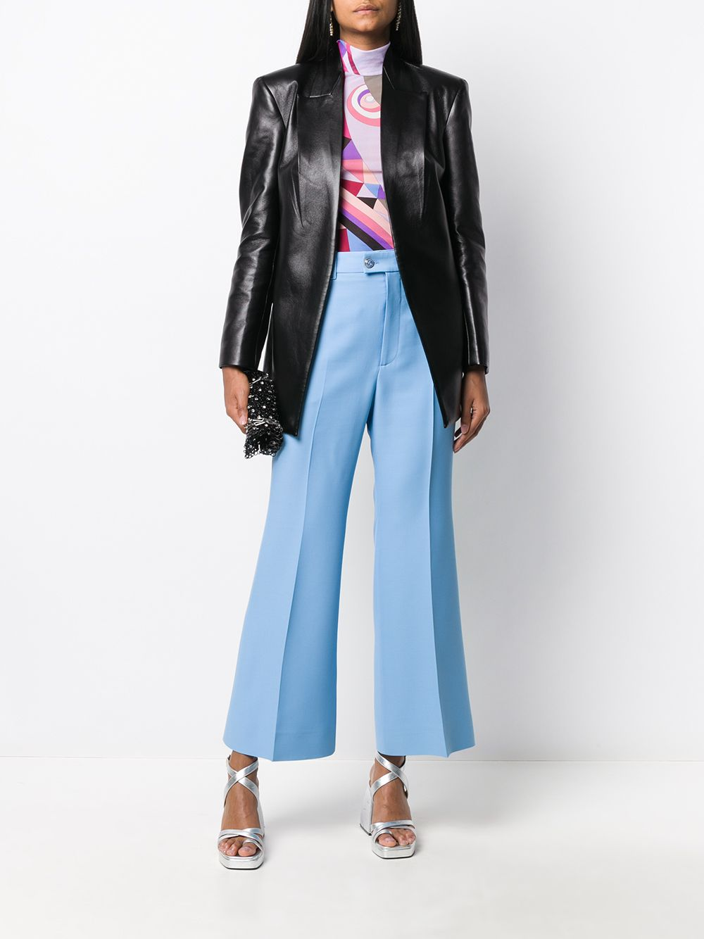 pantalone celeste vita media in lana e seta GUCCI | Pantaloni | 632257-ZAD884312