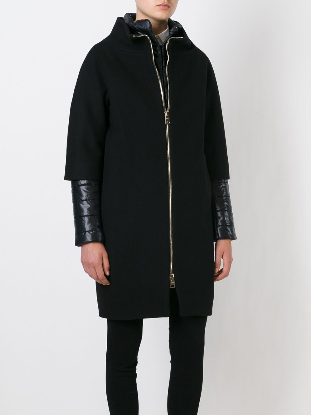 Black wool blend coat with padded sleeves HERNO |  | CA0040D-M01-396019300