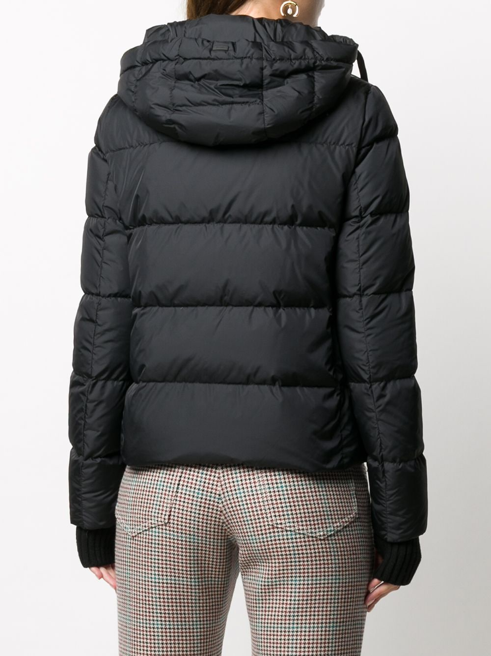 Black feather-down puffer jacket with detachable hood and glove detailing HERNO      PI1117D-120049389