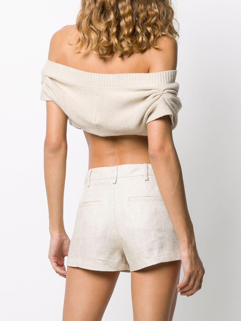 Cardigan giromanica corto Valerie in lana beige con spalle scoperte JACQUEMUS | Cardigan | 203KN39-208800