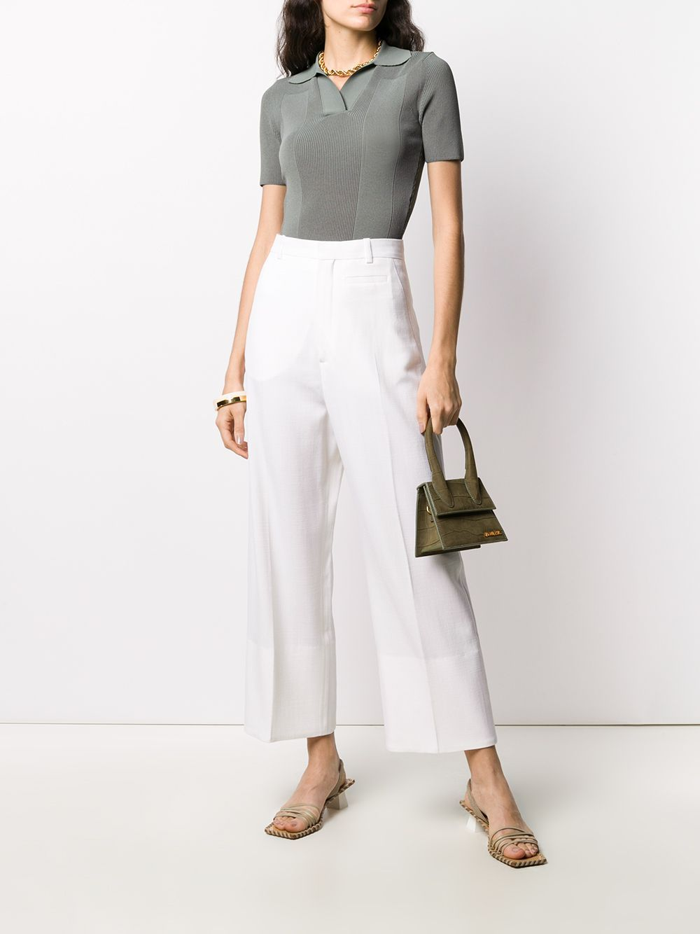 White wool-blend high-waisted wide-leg trousers featuring high waist JACQUEMUS |  | 203PA04-120110