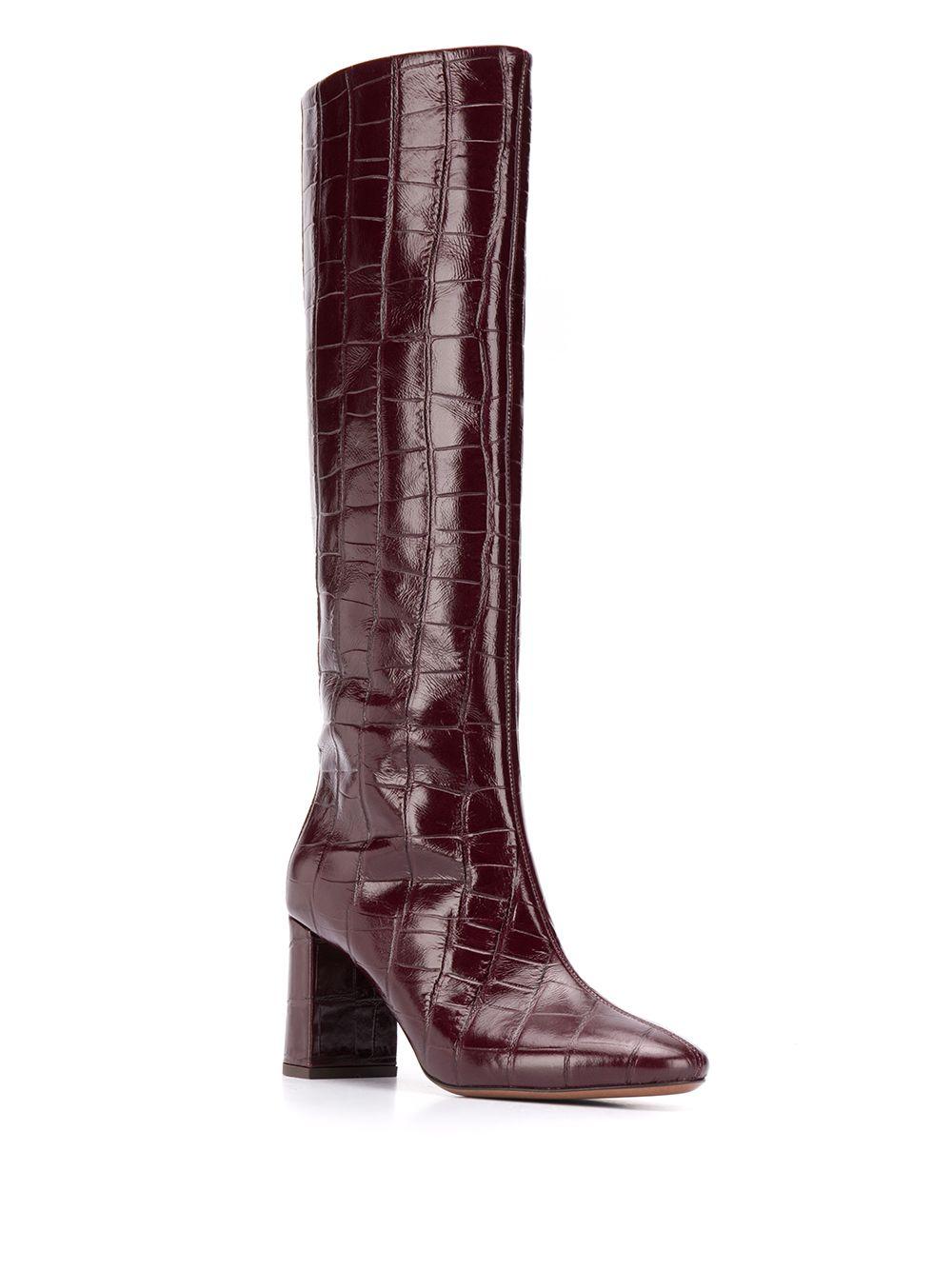 Burgundy 100% leather knee-length croc effect boots  L'AUTRE CHOSE      OSM108.75WP30284018