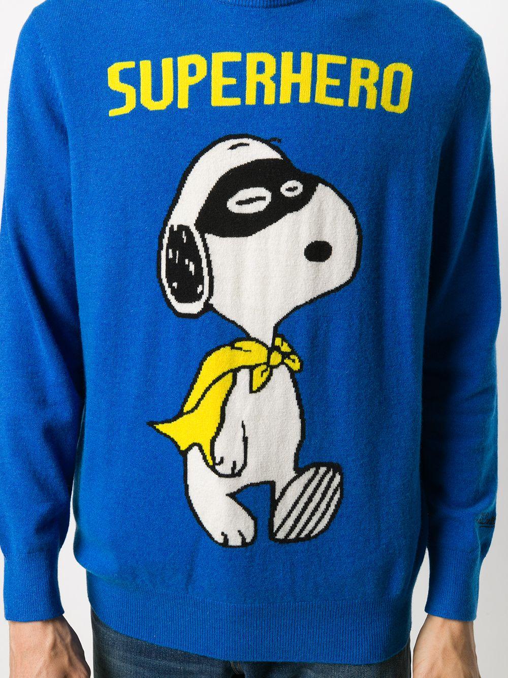 Maglia girocollo Snoopy Superhero in misto cashmere e lana multicolore blu MC2 | Maglieria | HERON LIGHT-SNOOPY HERO17