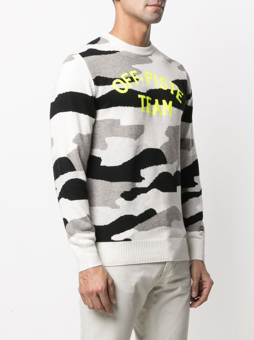 Black and medium grey cashmere and wool intarsia-knit camouflage-pattern jumper featuring Off Piste Team yellow logo print MC2 |  | HERON-SNOW CAMO OPT1094