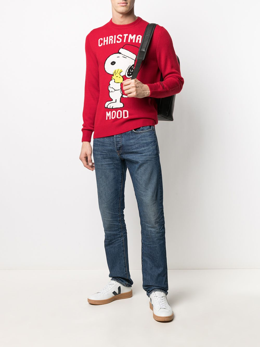 Maglia rossa in lana e cashmere con intarsio Christmas Mood e stampa cartoon Snoopy MC2 | Maglieria | HERON-XMAS SNOOPY41