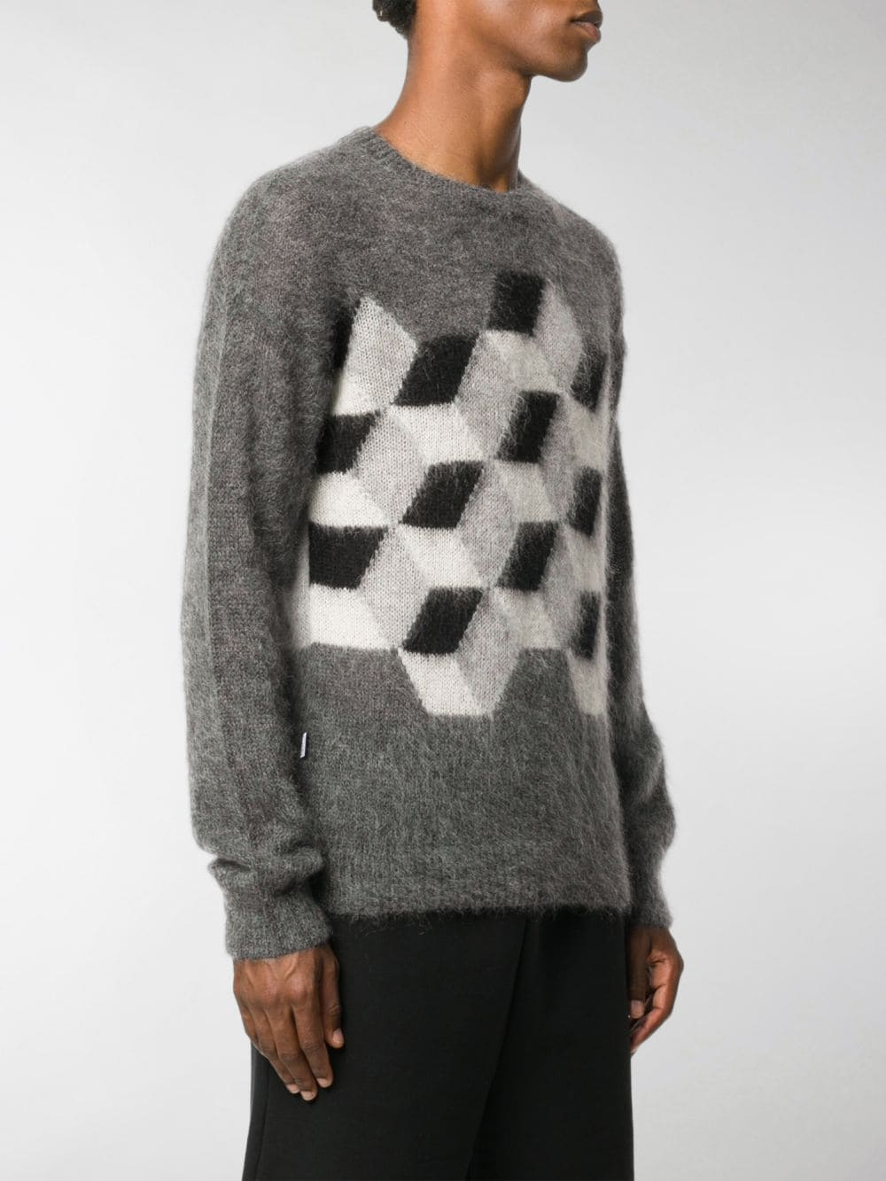 mohair wool grey pull-over with 3D square front print  MONCLER GENIUS |  | 9C702-00-A9486987