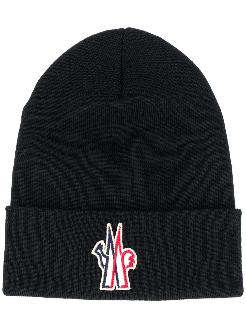 berretto di lana merino nero con logo Moncler Grenoble MONCLER GRENOBLE   Cappelli   3B100-00-09974999