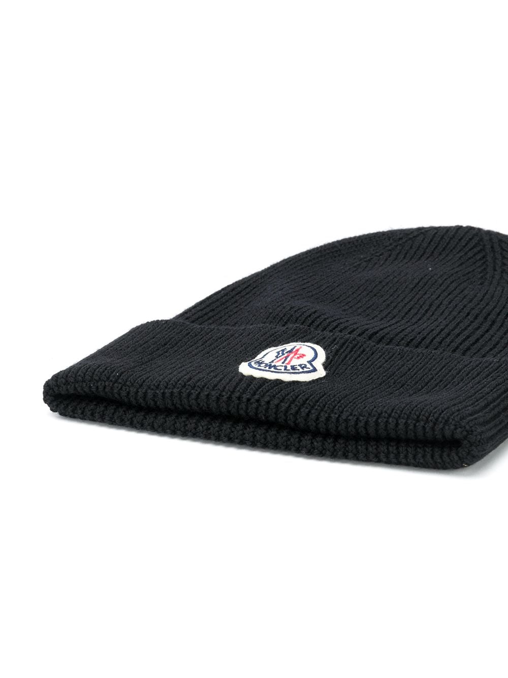black ribbed knit virgin wool beanie with front Moncler patch MONCLER |  | 3B705-00-A9342999
