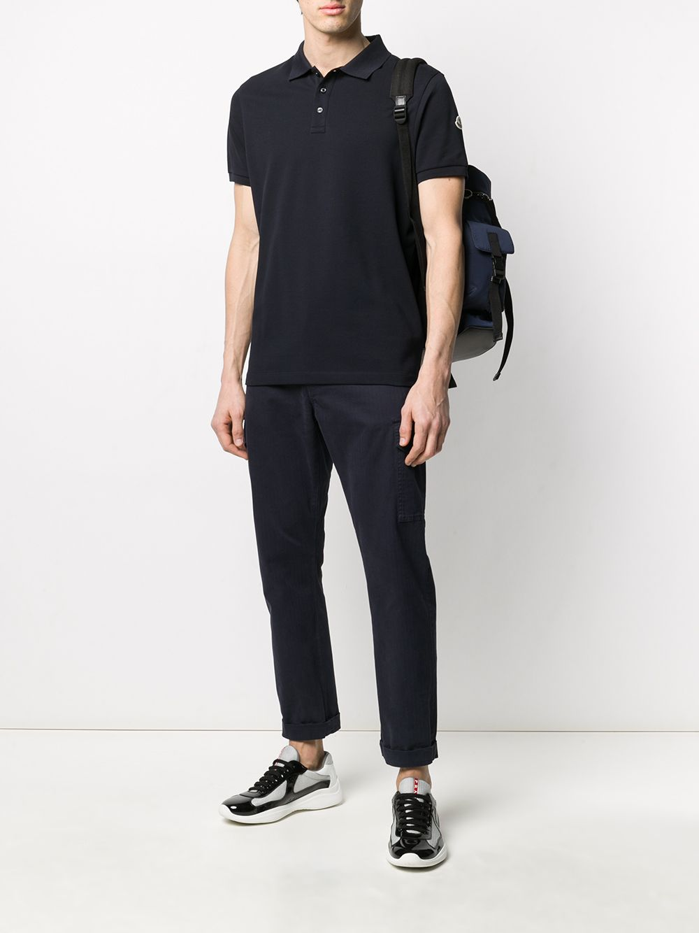 blue cotton polo shirt with side Moncler logo patch MONCLER |  | 8A705-10-84556773
