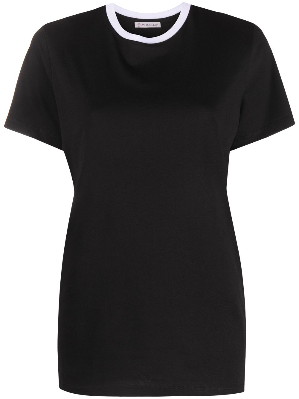 t-shirt in cotone nero con collo a contrasto bianco MONCLER   T-shirt   8C778-10-V8161999
