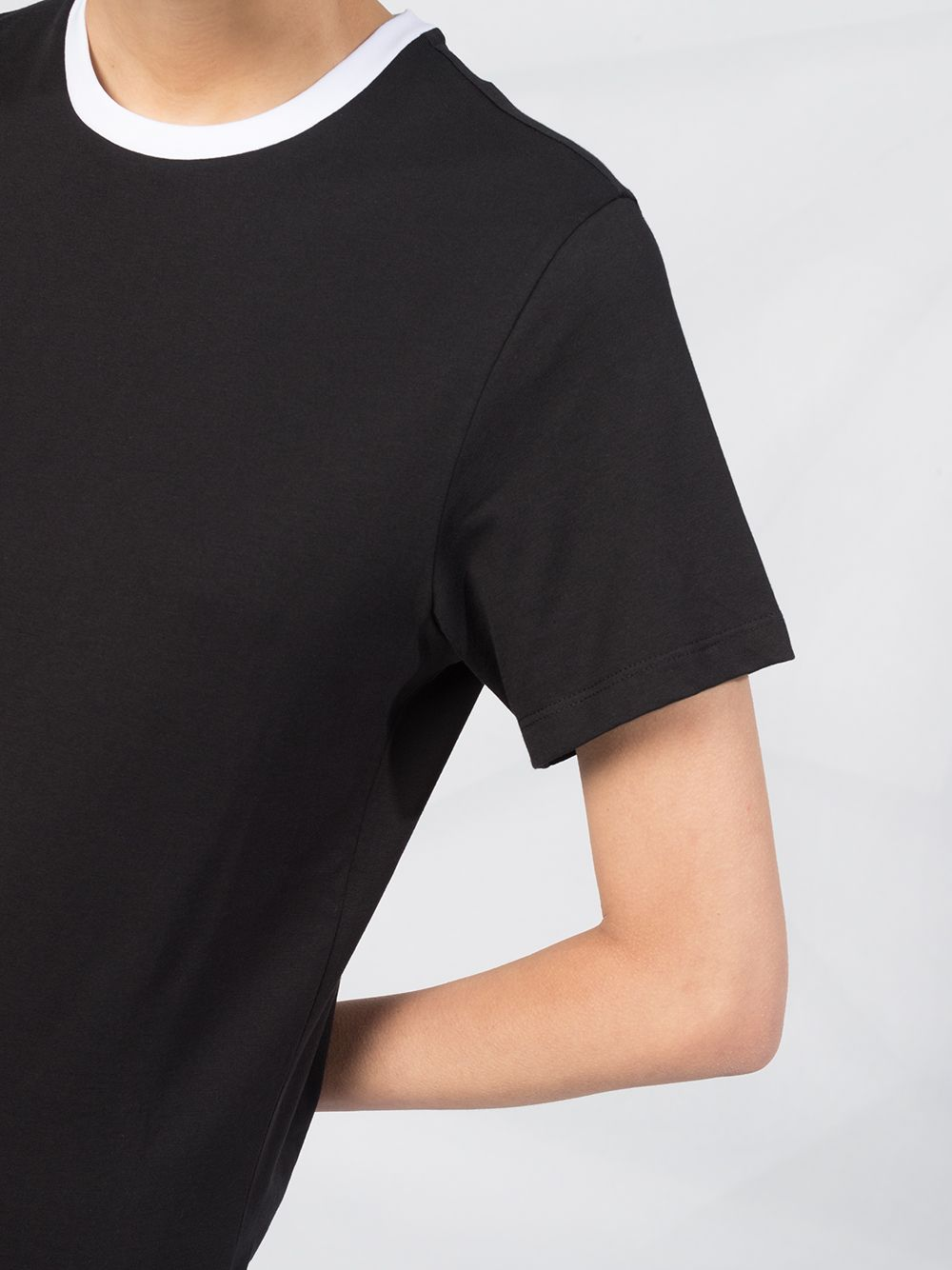 black cotton t-shirt with contrasting white crew-neck MONCLER |  | 8C778-10-V8161999