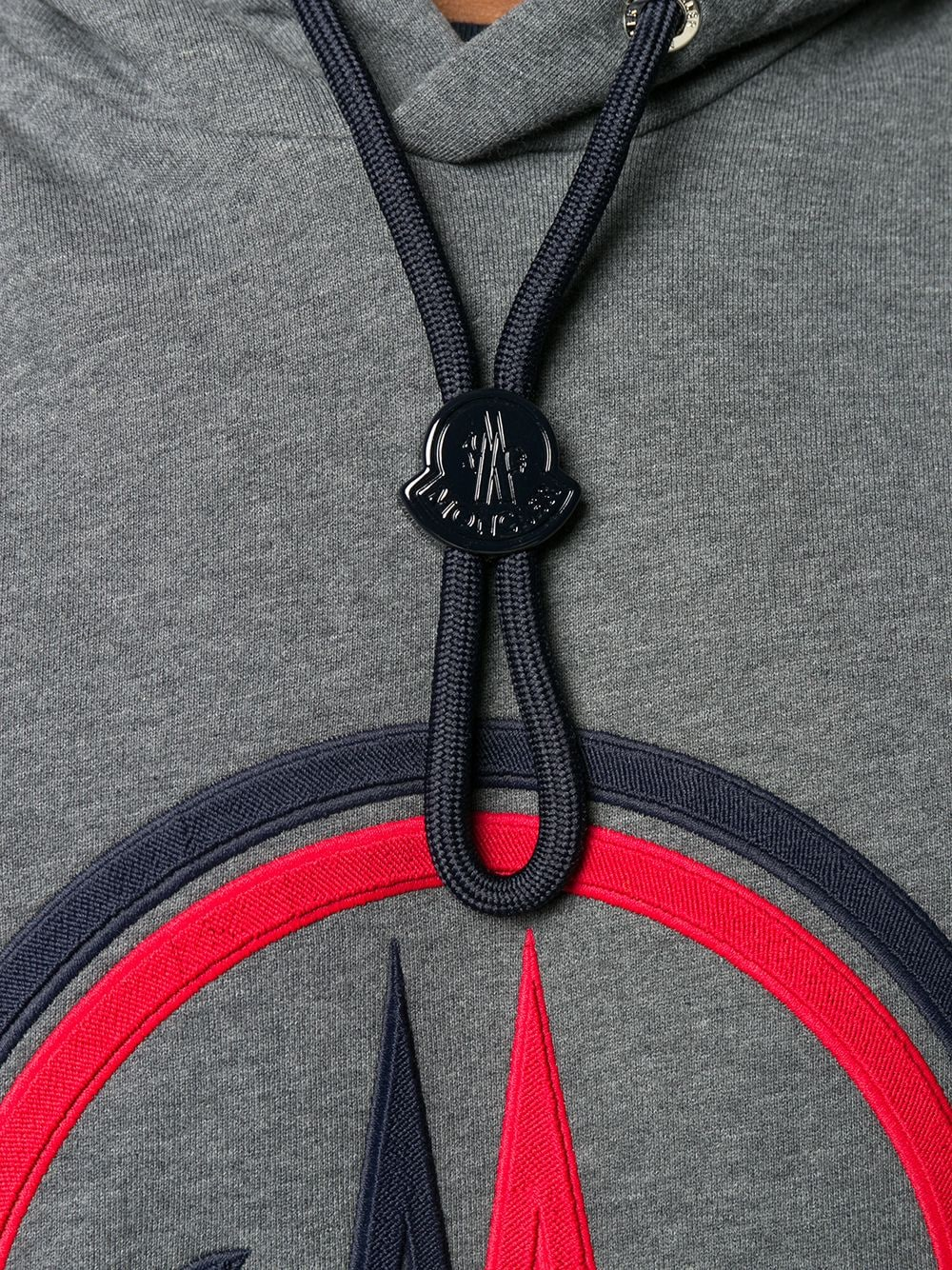 grey cotton Moncler logo embroidery hoodie featuring drawstring hood MONCLER |  | 8G746-10-80985940