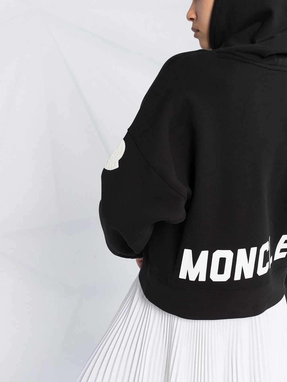 black cotton hoodie with read Moncler printed patent like logo MONCLER      8G752-10-V8186999