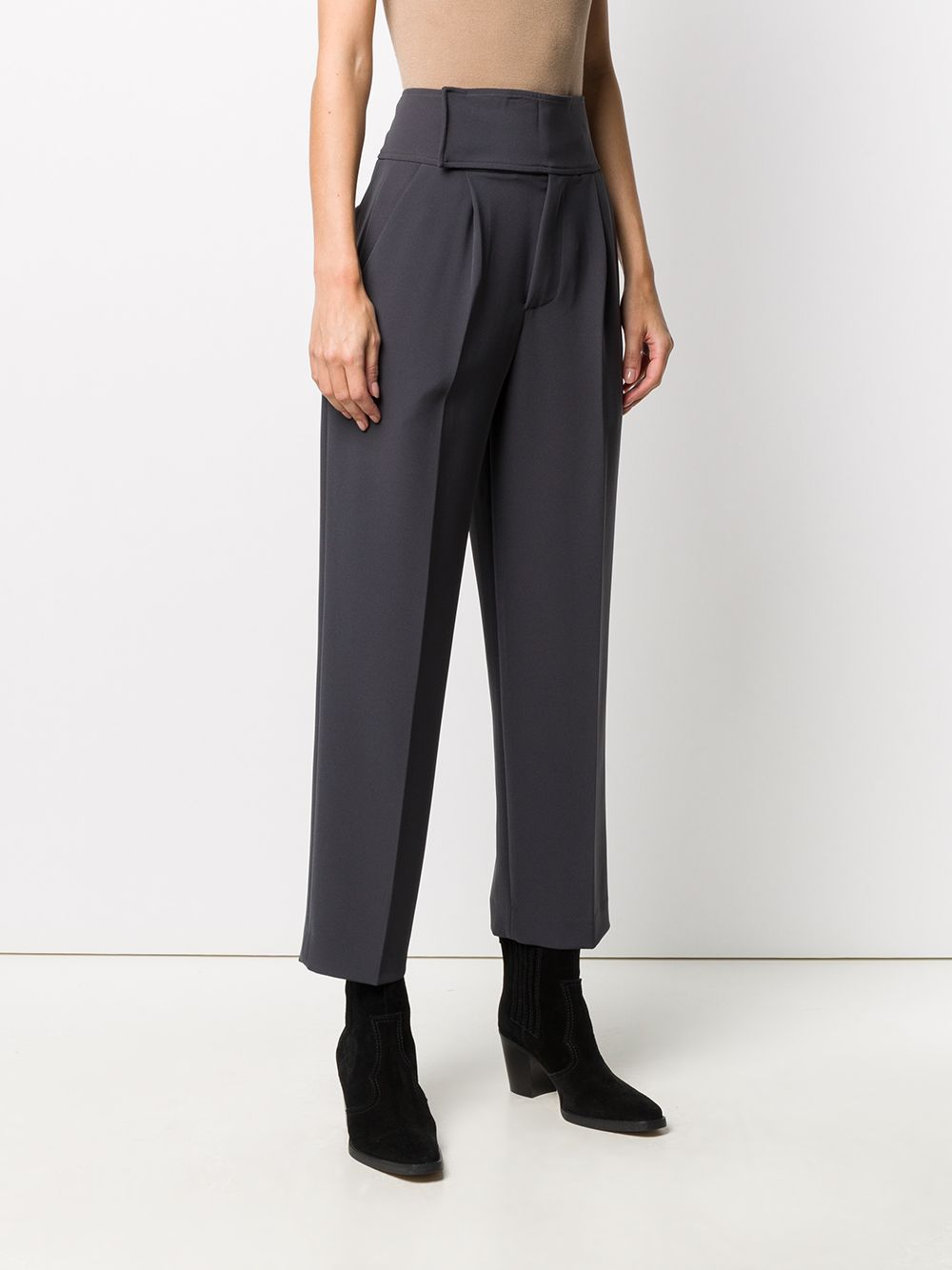Dark grey polyester-blend cropped pleated trousers P.A.R.O.S.H.      D231030-PIRATES020