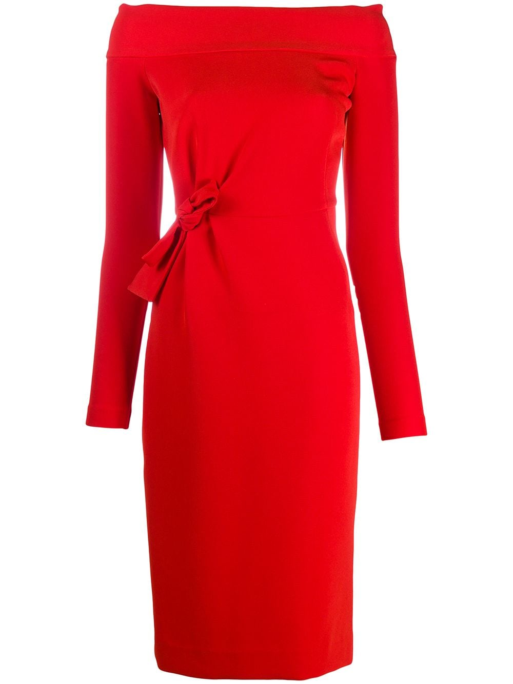 Red off-shoulder fitted dress featuring side tie fastening P.A.R.O.S.H. |  | D723437-PROTONE019