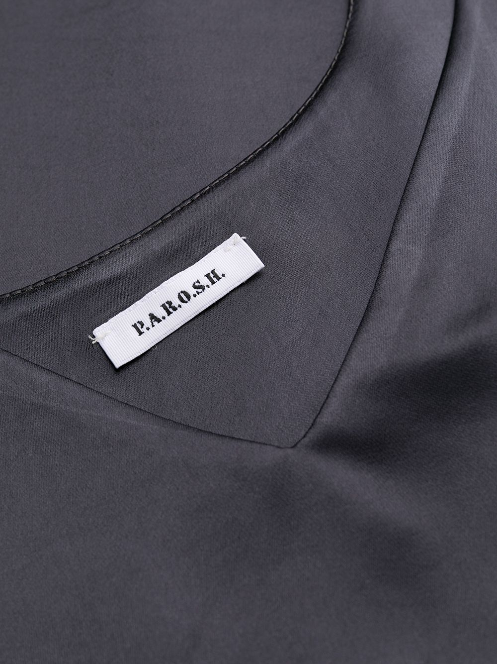 Dark grey draped side dress featuring V-neck P.A.R.O.S.H. |  | D724018-PRIVAT020