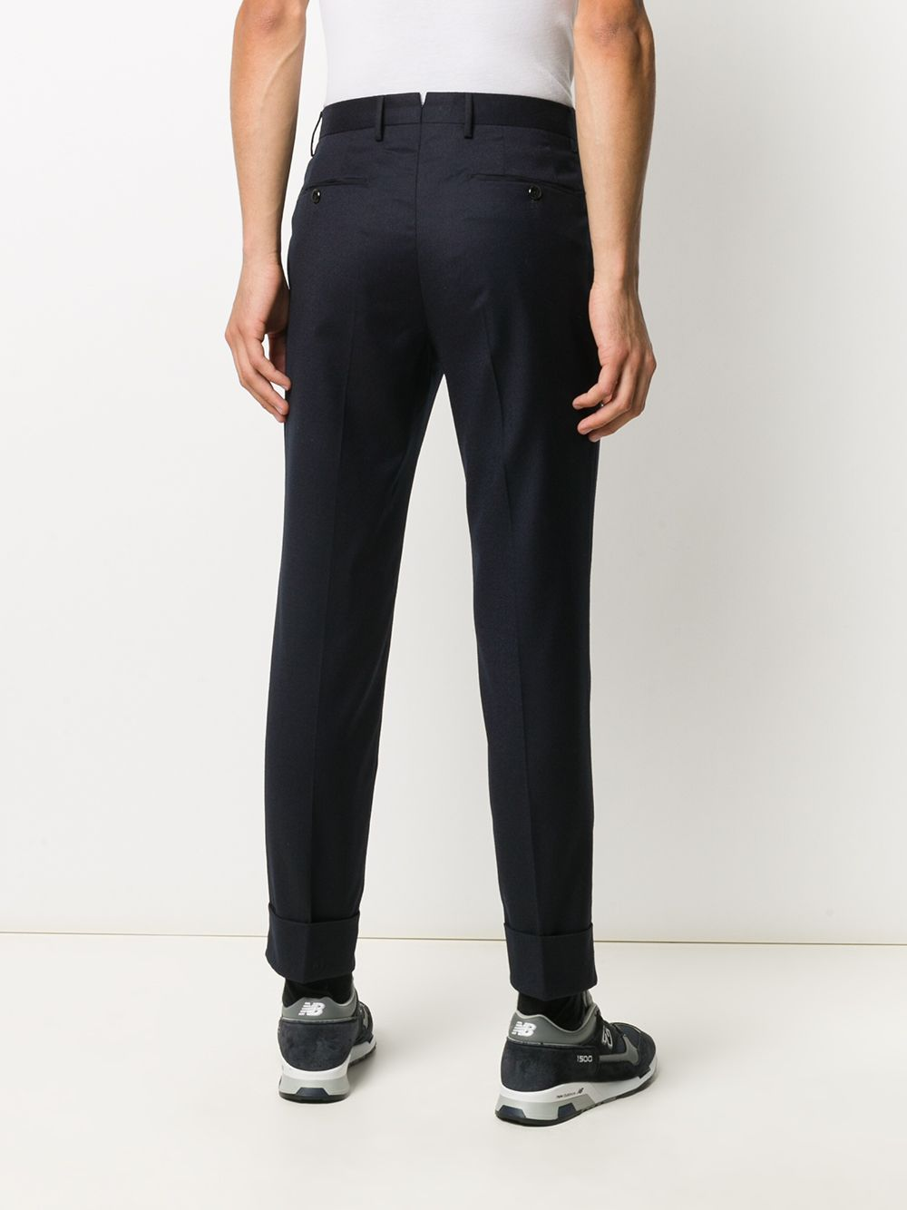 Navy blue virgin wool blend pleat-detail trousers  PT01 |  | COAFFKZ00CL1-CM130360