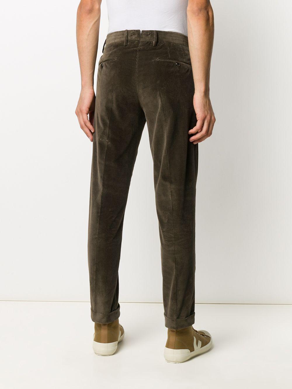 Pantalone dritto in velluto a costine verde scuro con doppia pence PT01 | Pantaloni | COHS22ZS0CL2-PG910125