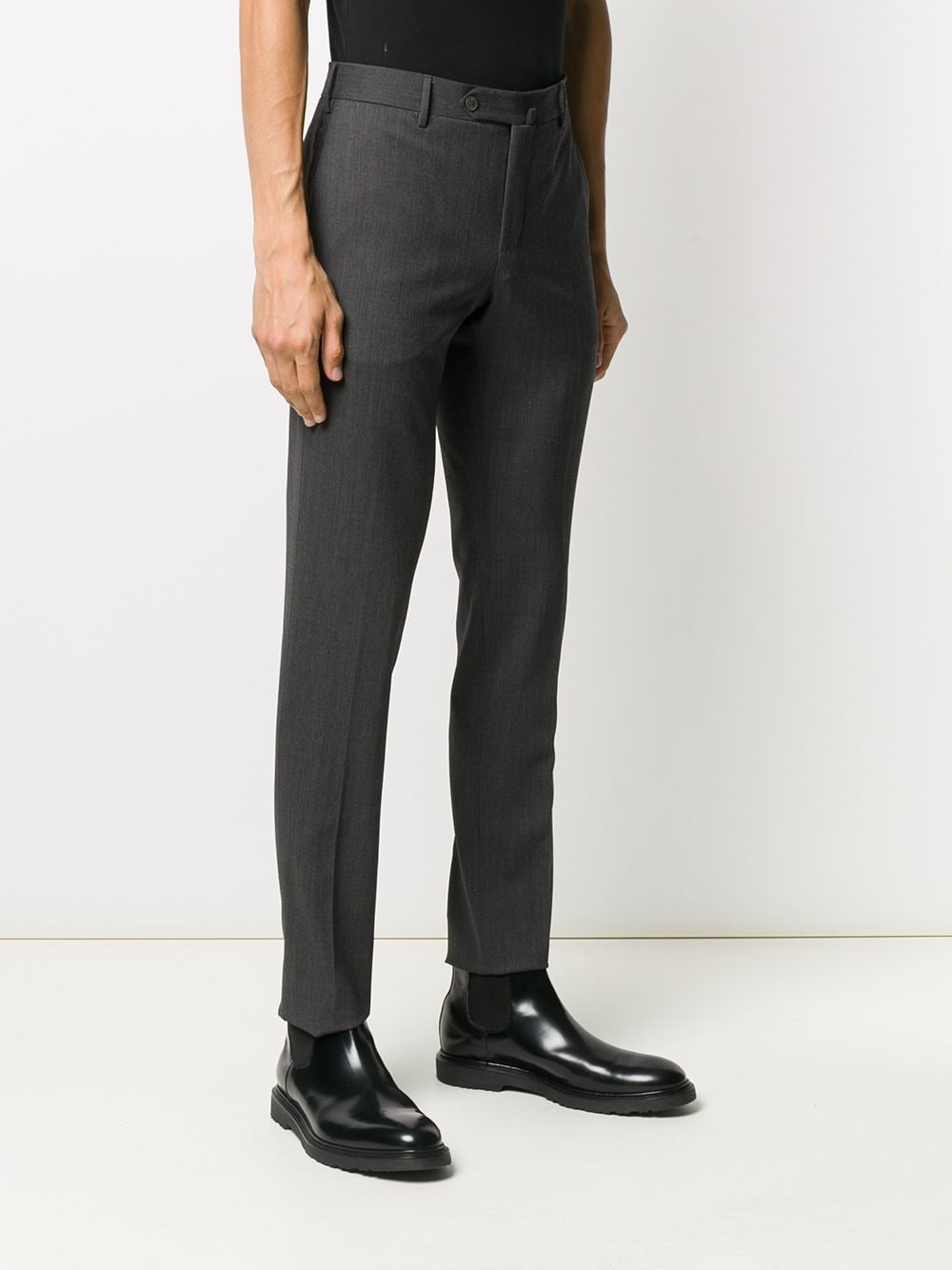 Anthracite grey wool-blend slim-fit tailored trousers   PT01 |  | COKSTVZ00TVL-PO360240
