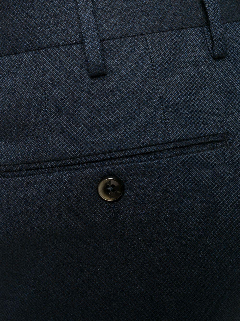 pantalone in cotone dal taglio classico con microquadri blu PT01 | Pantaloni | COKSZEZ00CL1-BB310360