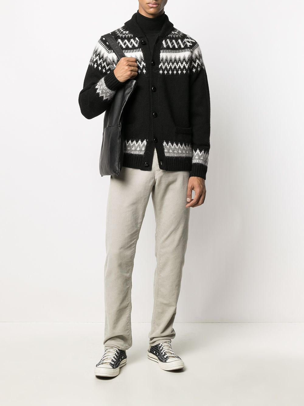 Black and white wool cardigan featuring fair isle intarsia knit ROBERTO COLLINA |  | RD07008B09