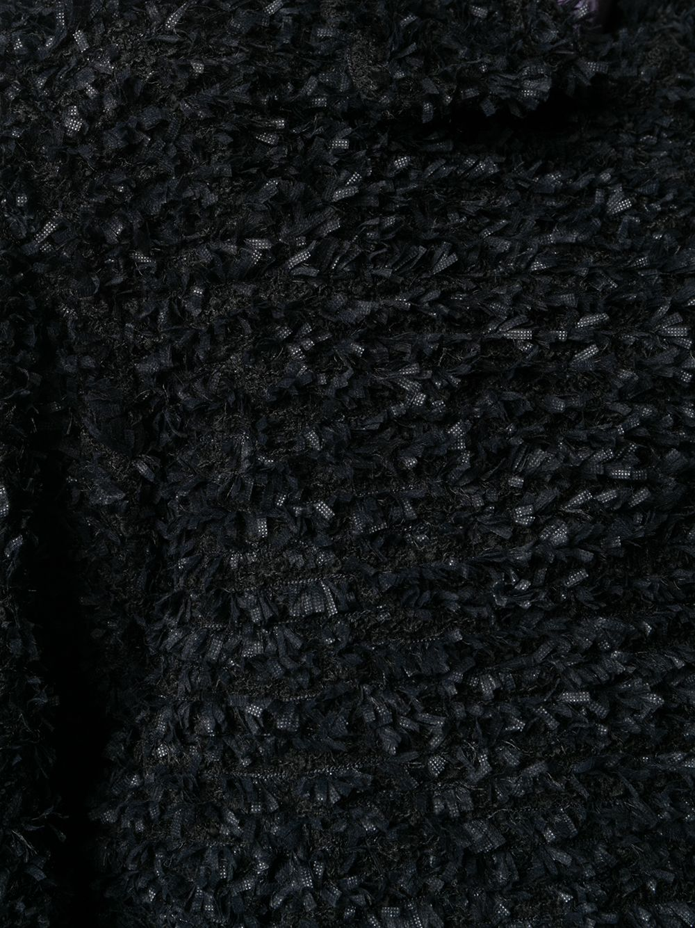 Giacca corta in lana sherpa nera con lavorazione a nastrini ROCHAS   Giacche   ROPR1504A-RR018B001