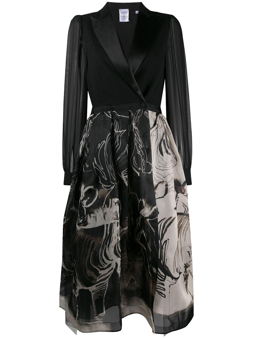 Black and white virgin wool and silk Areta buttoned wrap dress featuring abstract pattern print SARA ROKA |  | ARETA LS85-35C