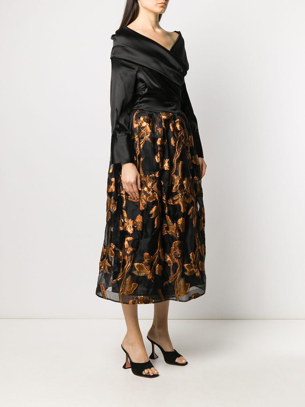 Black and brown silk-blend Zaki off-shoulder dress  SARA ROKA |  | ZAKI85 42-F2003A