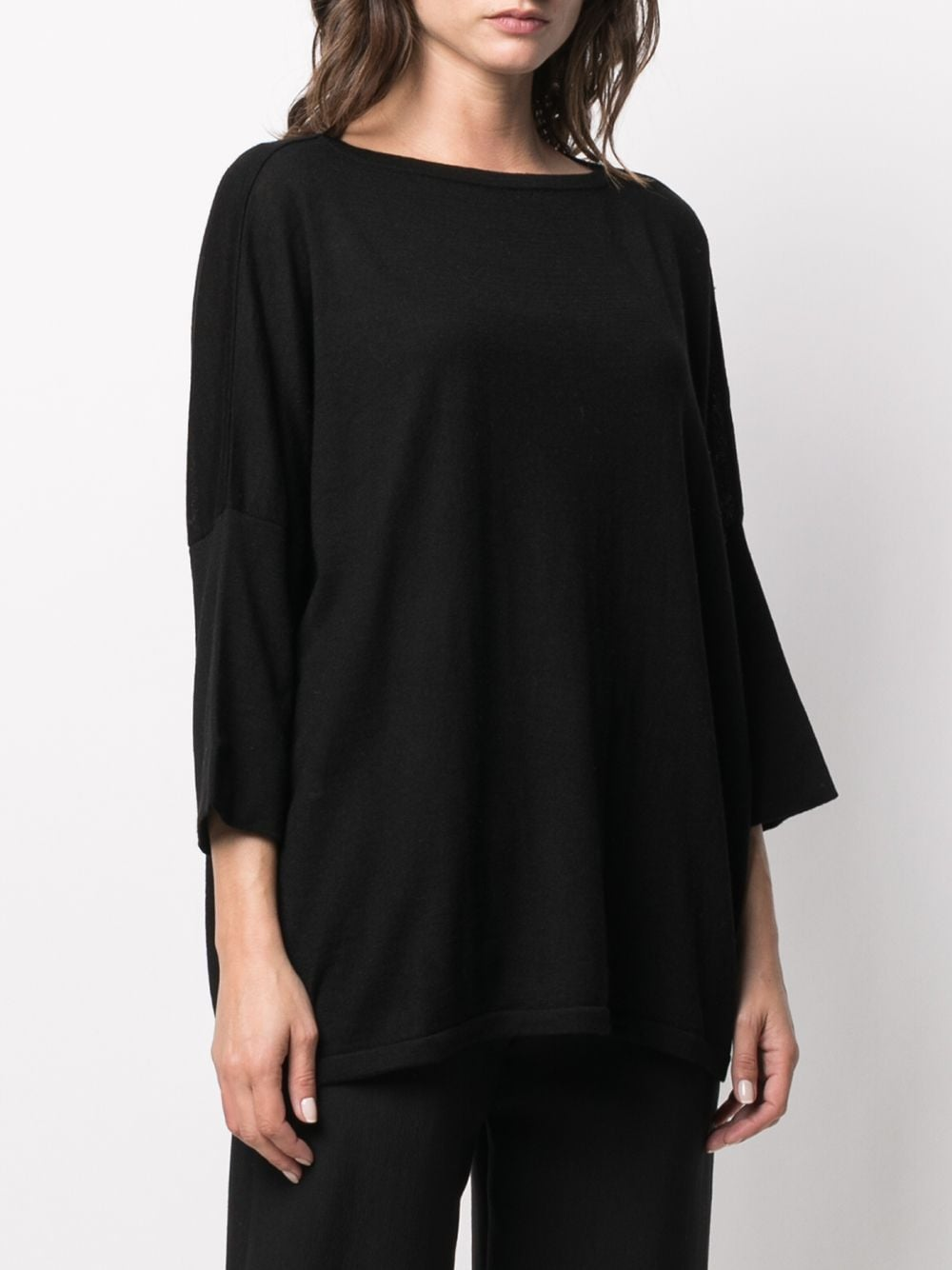 black silk-cashmere blend loose-fit sweater  SNOBBY SHEEP      20X.80170999