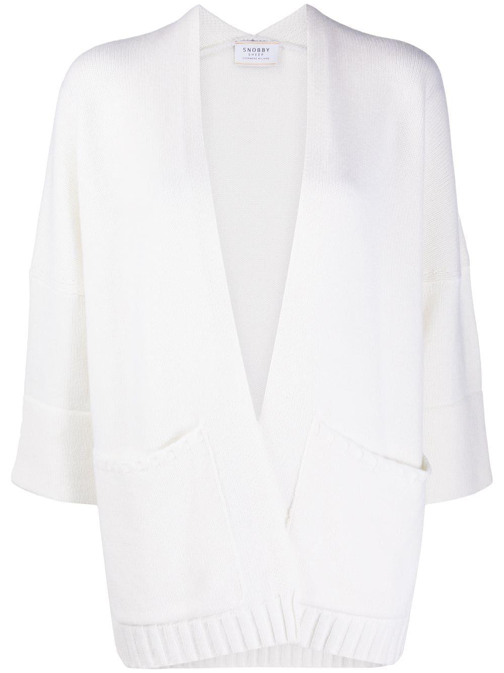 cardigan bianco in misto lana e cashmere con dettagli a coste SNOBBY SHEEP | Cardigan | 20X.80910001