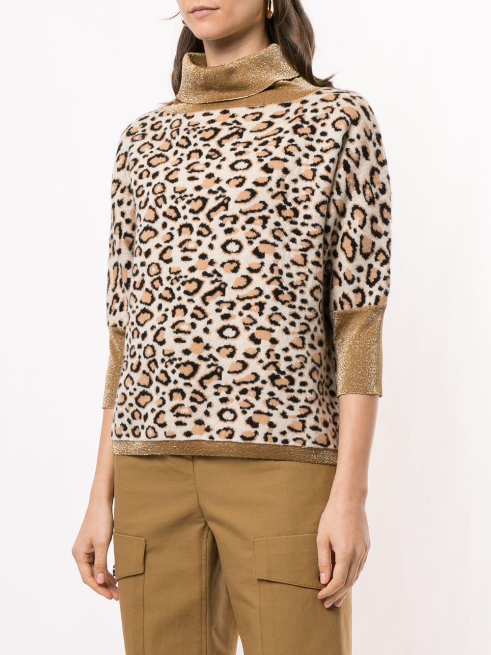 Beige and brown wool-cashmere blend leopard print turtleneck jumper  SNOBBY SHEEP |  | 20X.81040000