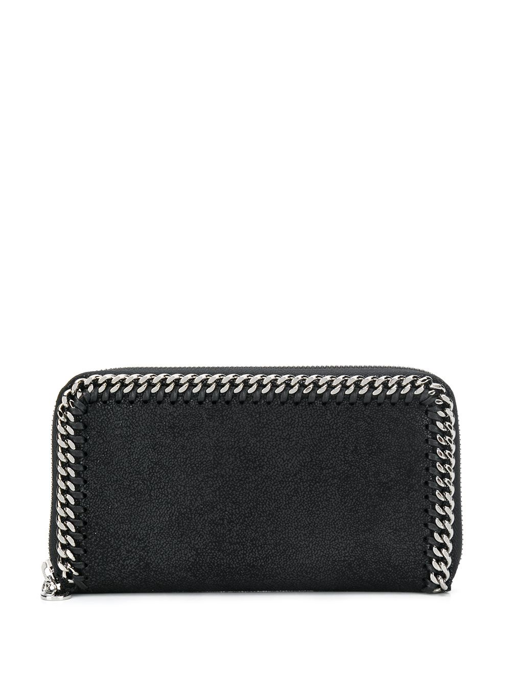 black Falabella continental wallet crafted in faux leather with a signature diamond-cut chain  STELLA MC CARTNEY      434750-W91321000