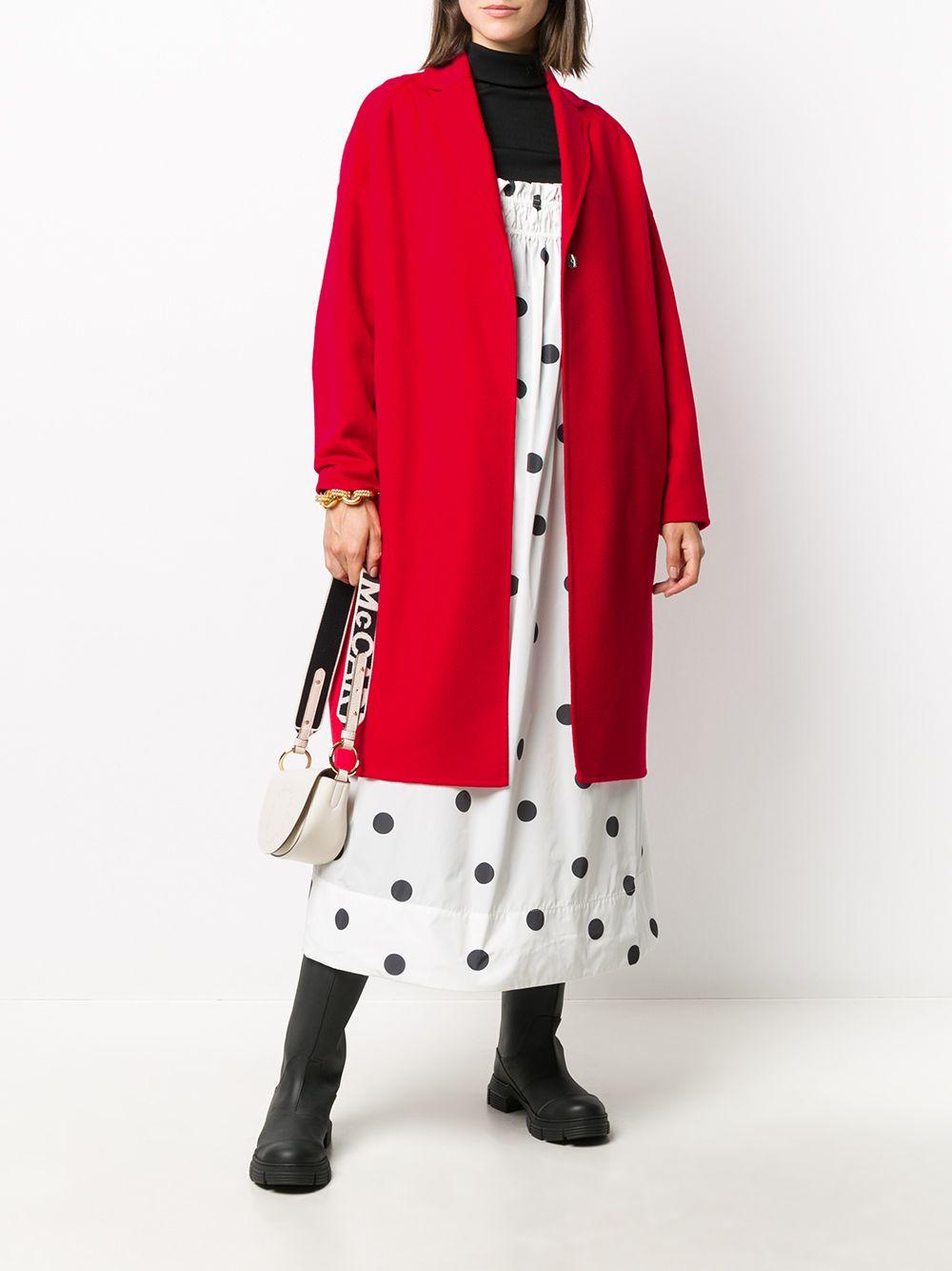 Cappotto monopetto in lana rossa con revers a dente, chiusura frontale con bottoni STELLA MC CARTNEY   Cappotti   573928-SPB056506