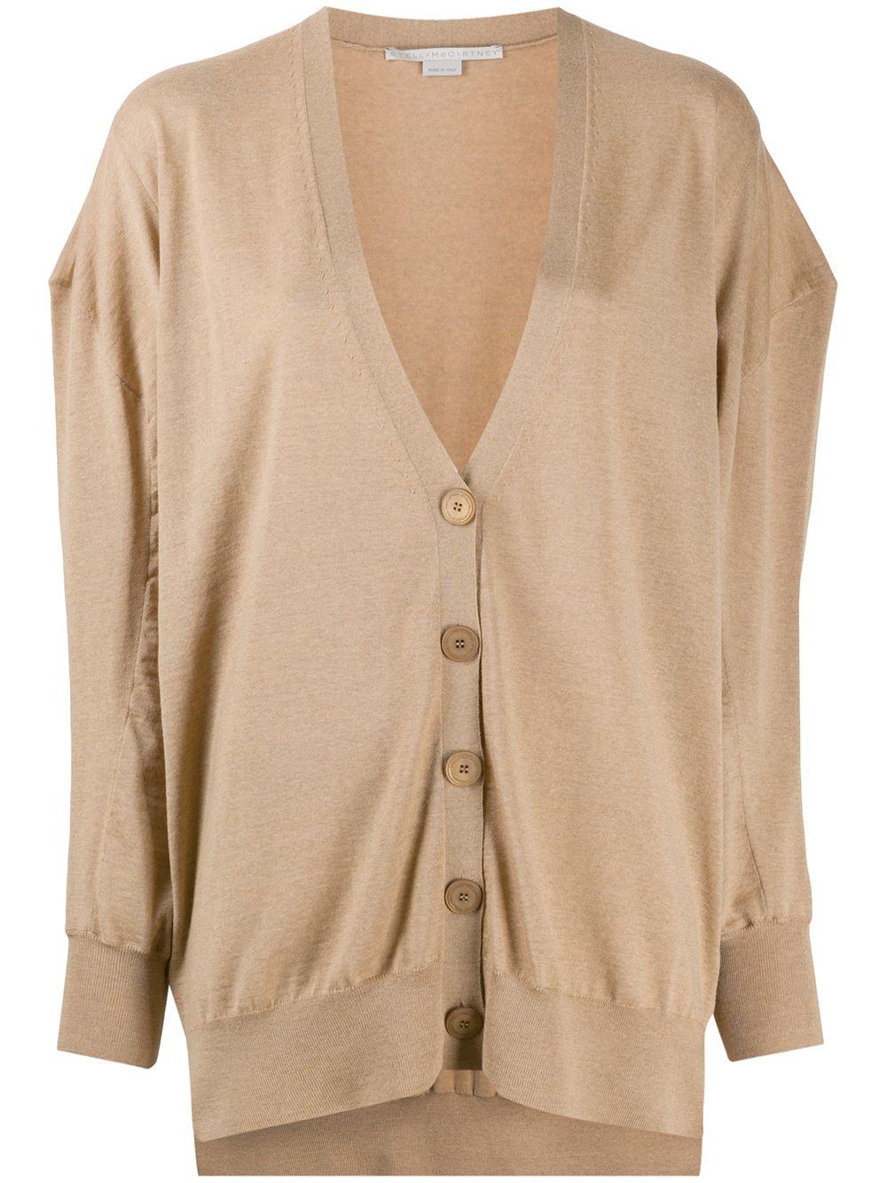 Camel brown virgin wool oversized cardigan featuring V-neck STELLA MC CARTNEY |  | 602030-S17352742