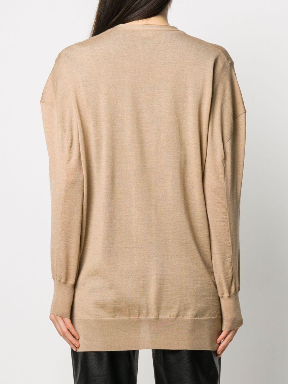Cardigan oversize in lana vergine color cammello con scollo a V STELLA MC CARTNEY   Cardigan   602030-S17352742