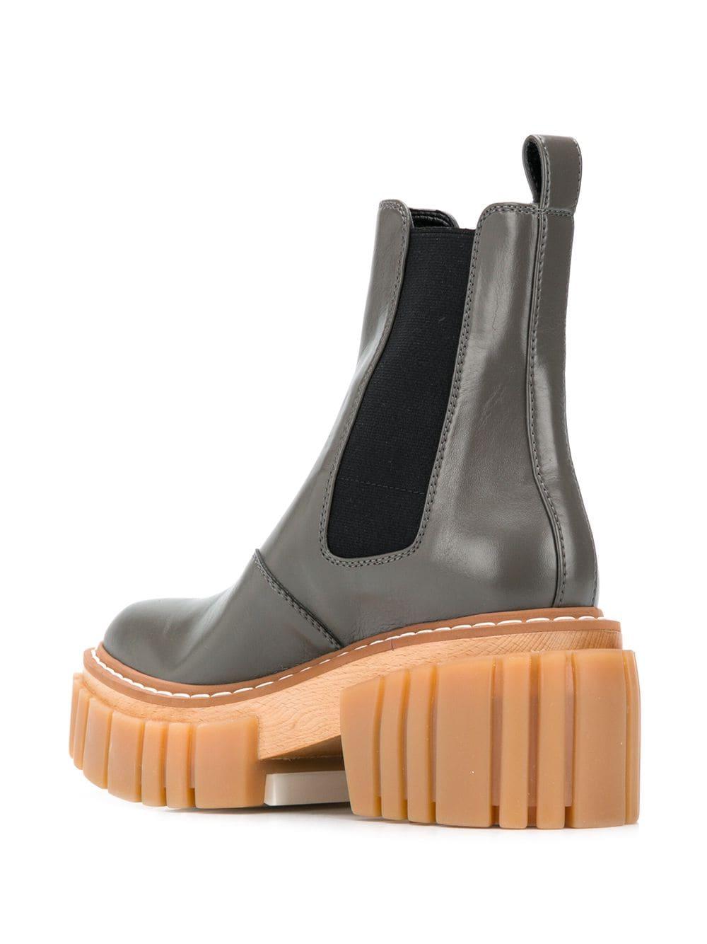 Metallic-green faux leather ridged-platform ankle boots  STELLA MC CARTNEY |  | 800251-N01311160