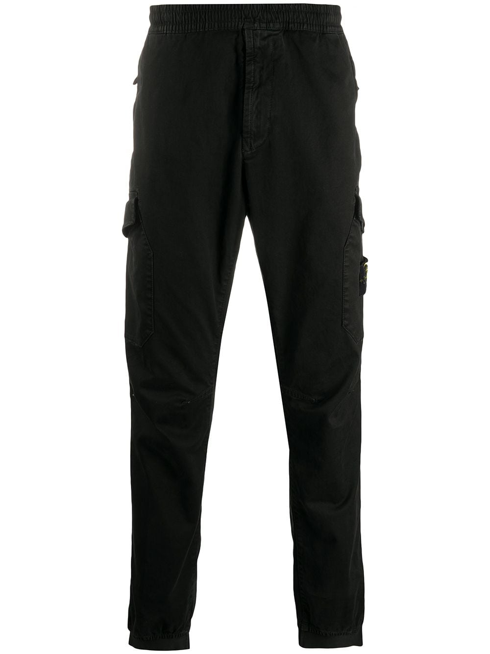 Black cotton-blend slim cotton cargo pants featuring elasticated waistband STONE ISLAND |  | 7315314L1V0129