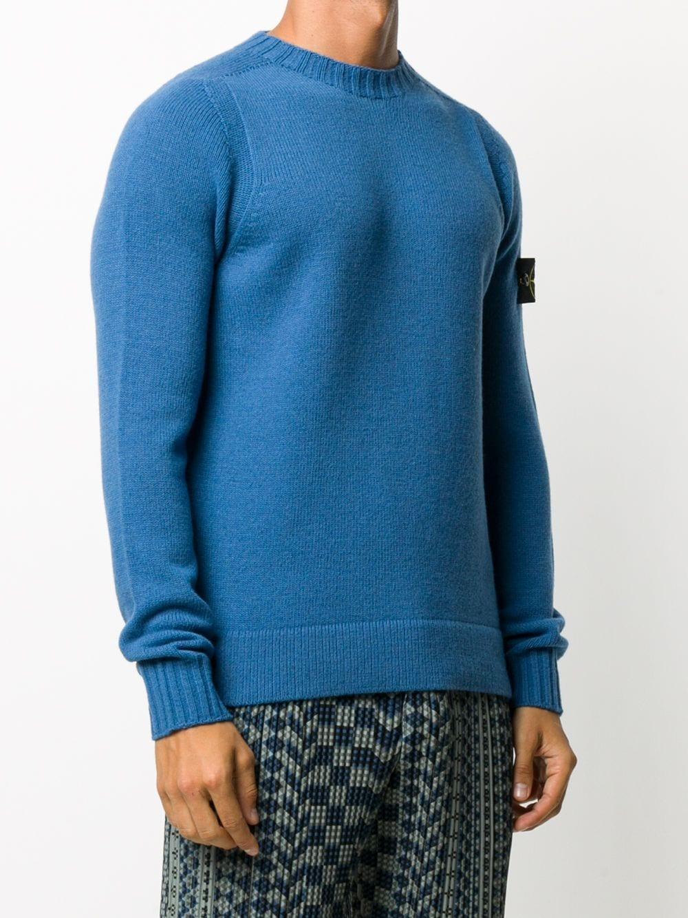 Blue wool crewneck jumper with Stone Island logo patch STONE ISLAND      7315505A3V0043