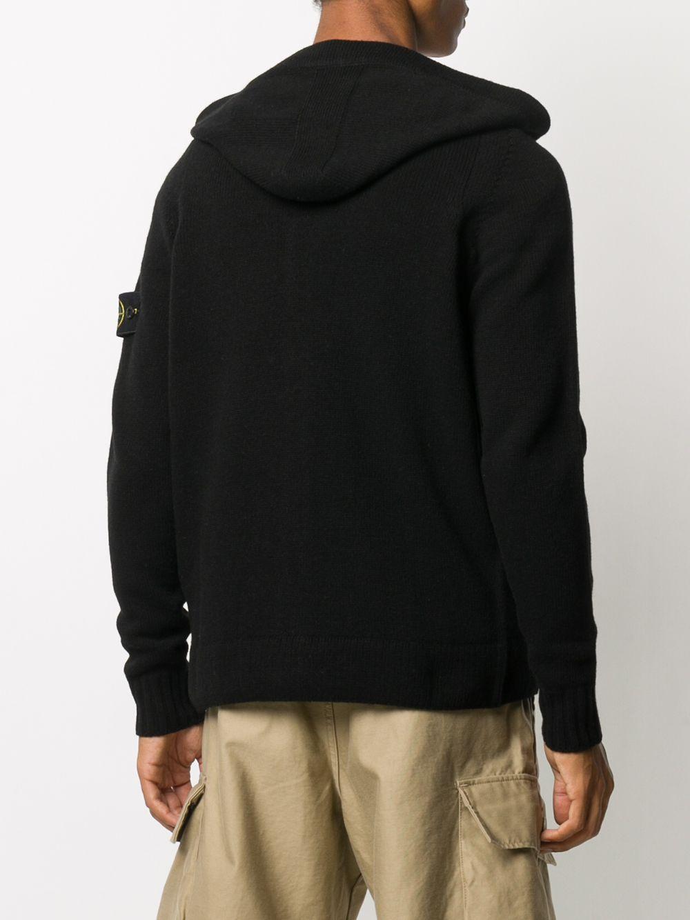 Black wool-blend hooded cardigan STONE ISLAND |  | 7315506A3V0029