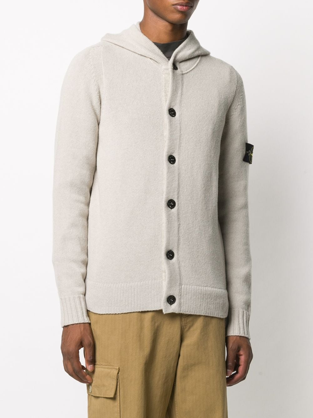 beige wool-blend hooded cardigan featuring knitted construction STONE ISLAND |  | 7315506A3V0092