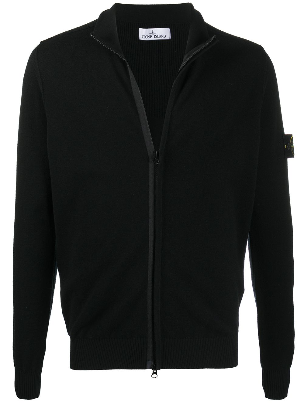 Black wool blend zipped cardigan  STONE ISLAND |  | 7315513A1V0029