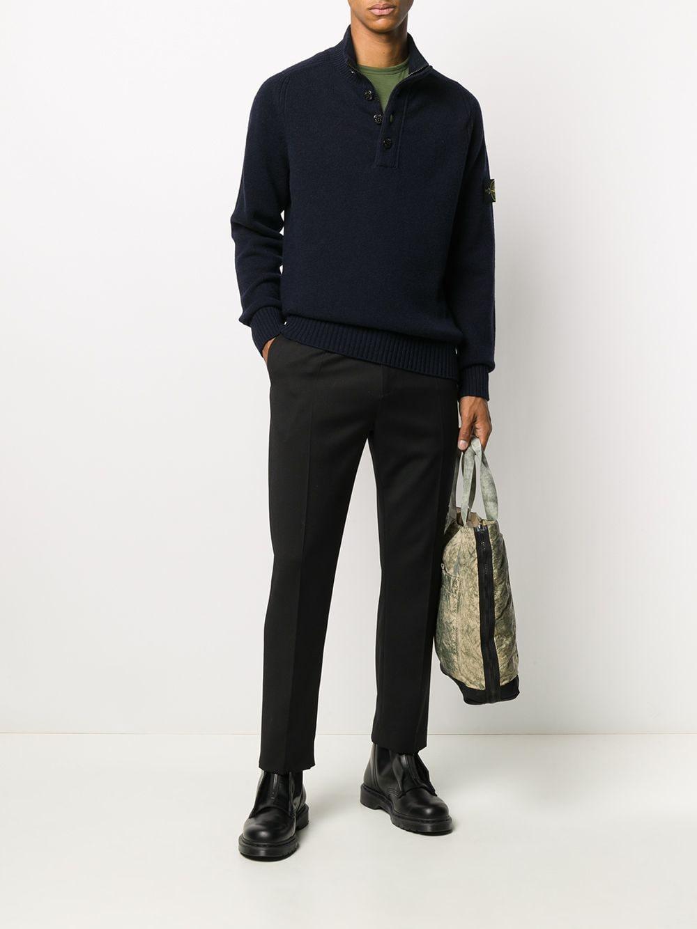 Midnight blue wool-blend jumper  featuring mock neck STONE ISLAND |  | 7315532A3V0020