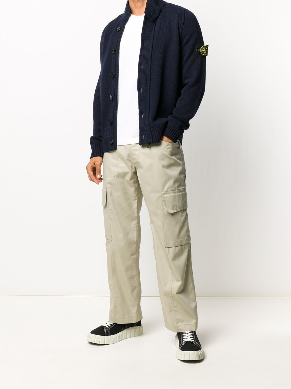 Navy wool blend button-down cardigan featuring Stone Island logo patch to the side STONE ISLAND |  | 7315564A3V0020