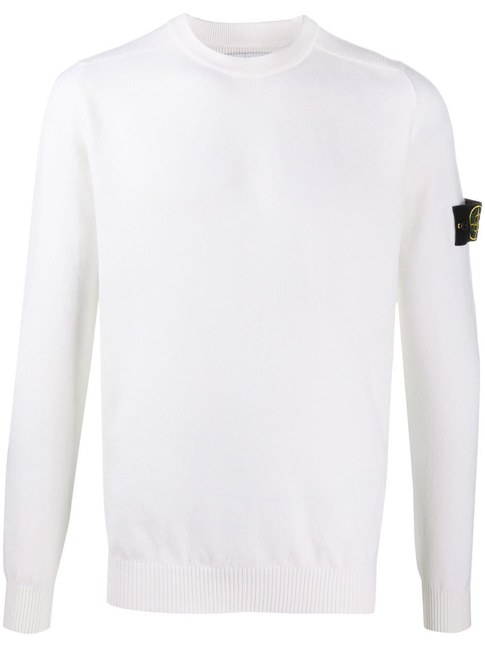Maglione bianco in misto lana con bordi a coste STONE ISLAND | Maglieria | 7315591A1V0099