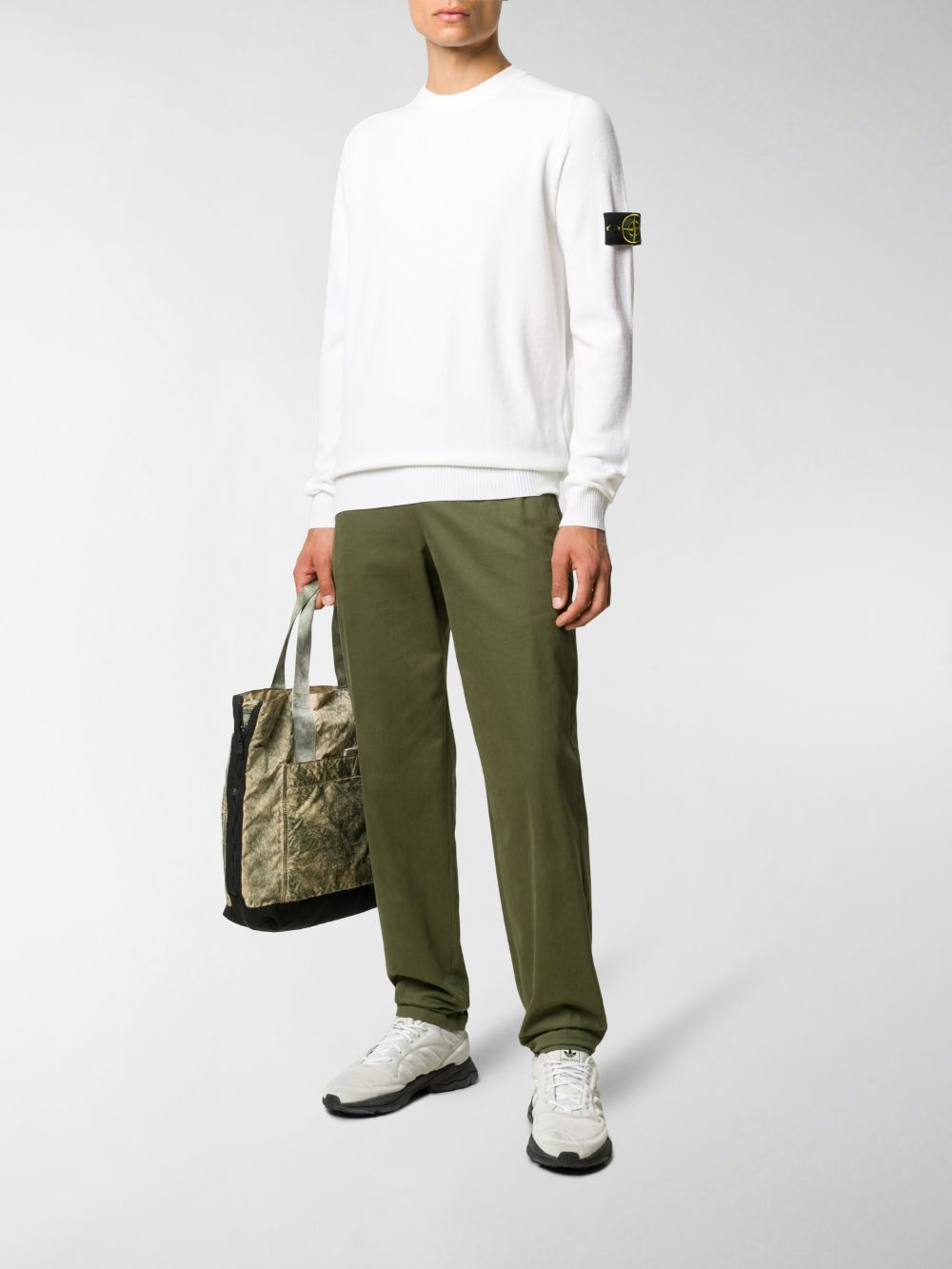 White wool-blend rib-trimmed jumper  STONE ISLAND      7315591A1V0099