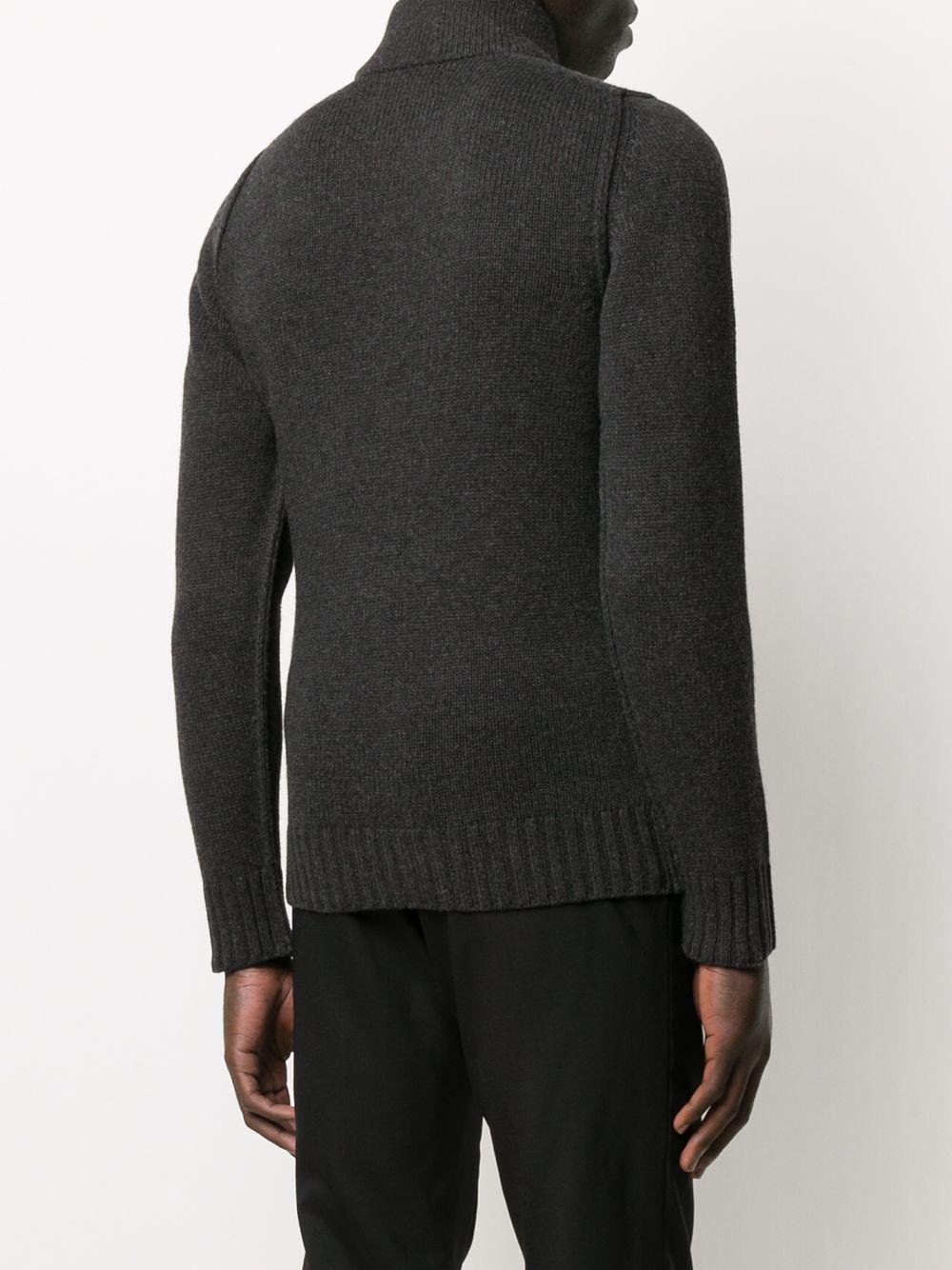 Maglione con zip ricamato in lana grigia con collo alto STONE ISLAND   Cardigan   7315593C7V0M67