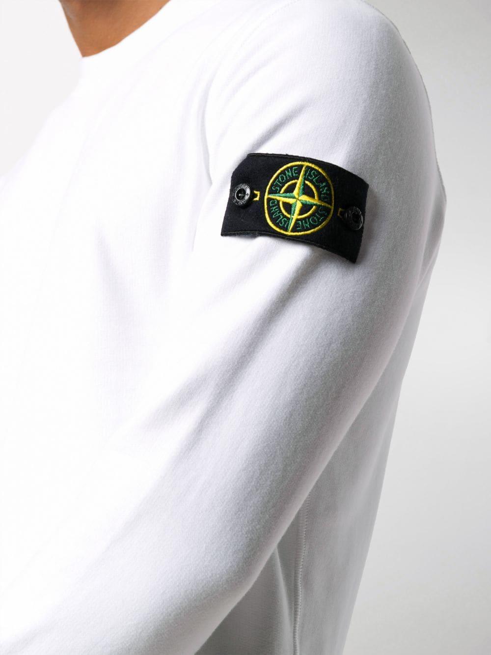 Felpa in cotone bianco con logo Stone Island sul braccio STONE ISLAND | Felpe | 731563020V0001