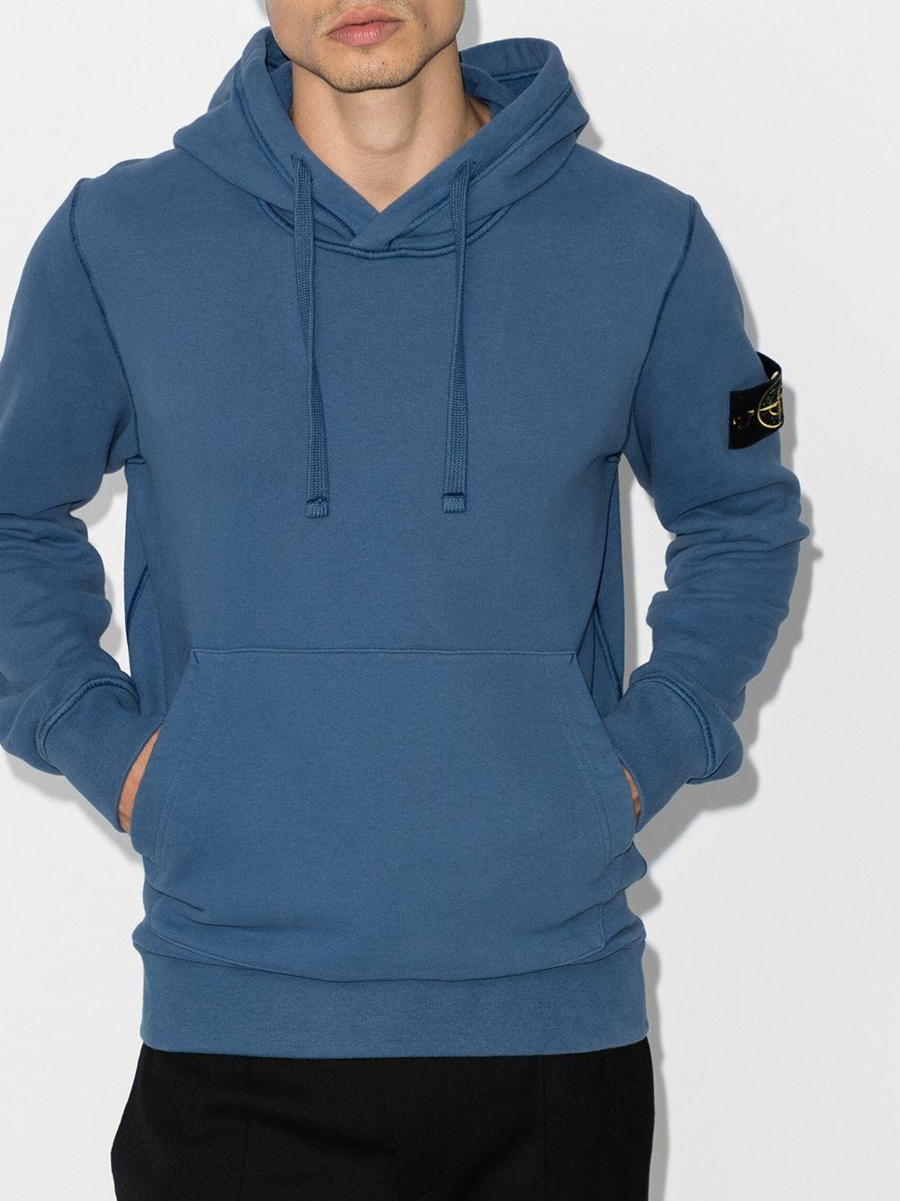 Felpa blu in cotone con cappuccio con coulisse STONE ISLAND | Felpe | 731564120V0043