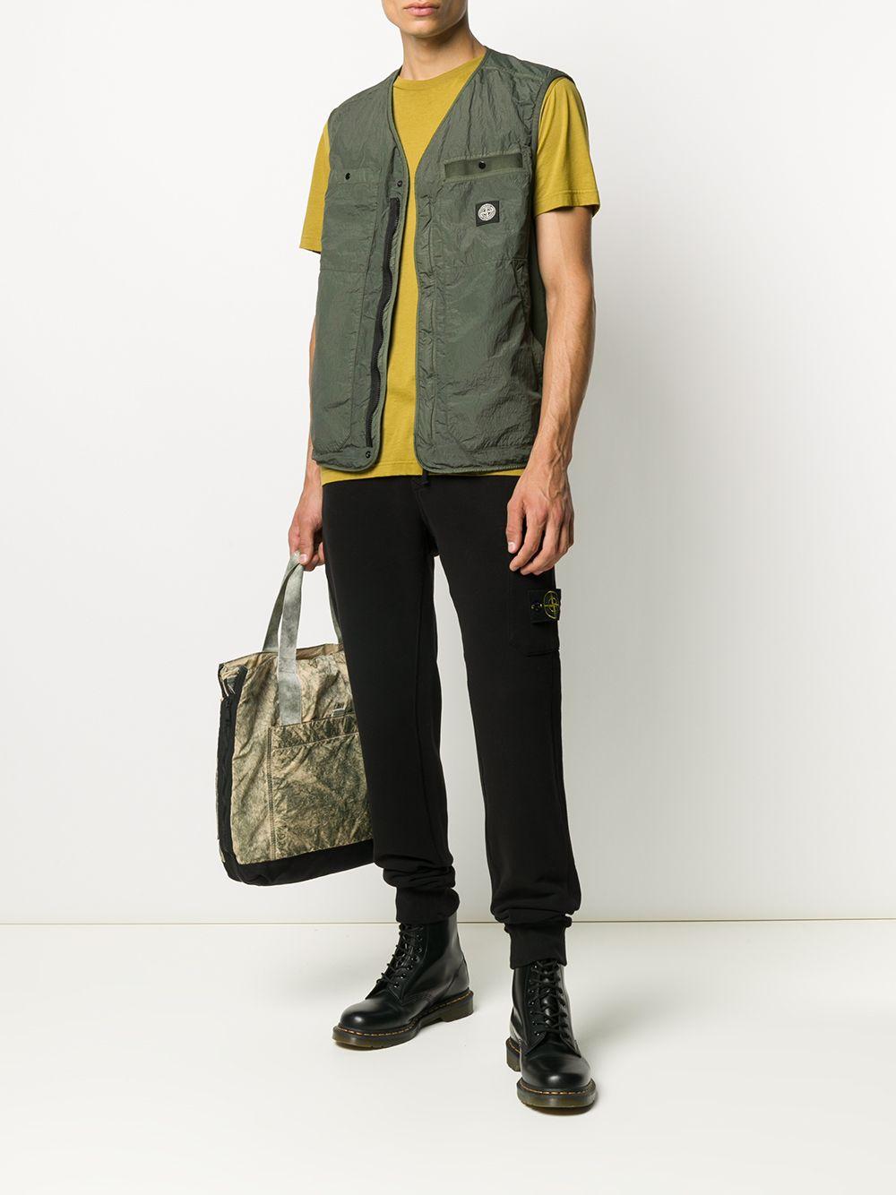 Black cotton fleece cargo track pants featuring jersey fleece STONE ISLAND |  | 731564520V0029